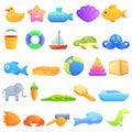 Bath Toys Icons Set, Cartoon Style