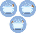 Bath tub icons three of people having a great Stock Photography