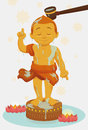 Bathing Golden Statue of Child Buddha in Vesak, Vector Illustration