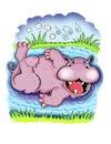 Bathing Hippopotamus