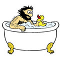 Bathing man illustration of a taking a bath Stock Image