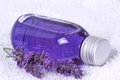 Bathing oil lavender with flask on towel Stock Photography