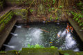 Bathing pool in the the holy spring temple sacred monkey forest sanctuary ubud bali indonesia Stock Photos