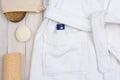 Bathrobe Soap and Luffa Royalty Free Stock Photo