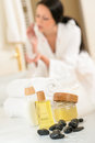 Bathroom body care products and towels close-up Royalty Free Stock Photo