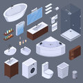 Bathroom Elements Isometric Collection Royalty Free Stock Photo