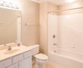 Bathroom with grab bars a modern new handicapped in the tub Stock Images