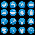 Bathroom icon set the collection Stock Images