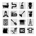 Bathroom icons elegant vector black set Royalty Free Stock Photos