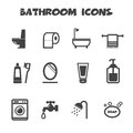 Bathroom icons mono vector symbols Stock Photos
