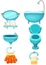 Bathroom icons set Royalty Free Stock Photo