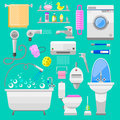 Bathroom icons symbols vector illustration. Royalty Free Stock Photo