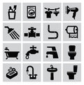 Bathroom icons vector black sey on gray Royalty Free Stock Photography
