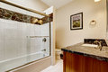 Bathroom interior with black granite trim Royalty Free Stock Photos
