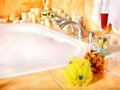 Bathroom interior with bubble bath. Royalty Free Stock Photo