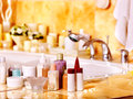 Bathroom interior with bubble bath home Royalty Free Stock Photography