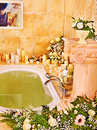 Bathroom interior with bubble bath home Stock Photography