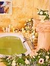 Bathroom interior with bubble bath home Stock Photography