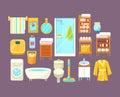 Bathroom Interior Elements Set Royalty Free Stock Photo