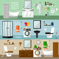 Bathroom interior with furniture. Vector illustration in flat style. Design elements, bathtub, washing machine, shower cubicle Royalty Free Stock Photo