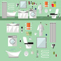 Bathroom interior with furniture. Vector illustration in flat style. Design elements, bathtub, washing machine, toilet Royalty Free Stock Photo