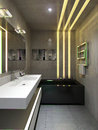 Bathroom interior in urban style d render Royalty Free Stock Images