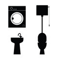 Bathroom objects black art illustration Royalty Free Stock Photo