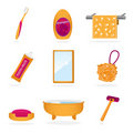 Bathroom objects icons Royalty Free Stock Photos