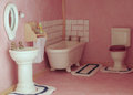 Bathroom pink in a doll house Royalty Free Stock Photo