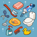 Bathroom set flat childish vector illustration Royalty Free Stock Photography