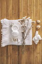 Bathroom set on a wood background composition bath essentials Royalty Free Stock Photography