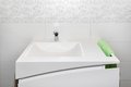 Bathroom sink white with towel holder in modern Stock Photo
