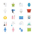 Bathroom and Toilet Flat Icons color Royalty Free Stock Photo