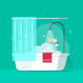 Bathroom vector illustration, flat cartoon bath water flowing from shower and foam bubbles, bathtub