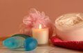 Bathtime accessories sponge candle cream soap for bath time Royalty Free Stock Photo