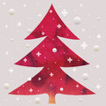 Batik christmas red tree Royalty Free Stock Photo