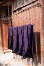 Batik cloth hanging and drying is a basic types of hand dyeing in ancient china this photo was taken in zhaoxing dong stockaded Royalty Free Stock Photos