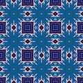 Batik pattern and computer processing of hand painted on silk a blue color temperature Royalty Free Stock Images