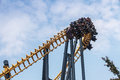 Batman roller coaster ride six flags maryland a view of the first drop and vertical loop of the at great adventure park in the is Royalty Free Stock Photo
