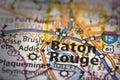 Baton Rouge on map Royalty Free Stock Photo