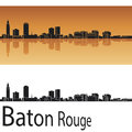 Baton rouge skyline in orange background editable vector file Stock Photos