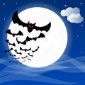 Bats against the full moon vector illustration of Stock Photography