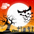 Bats against the full moon vector illustration of Royalty Free Stock Photography