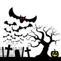 Bats against the full moon vector illustration of Royalty Free Stock Images