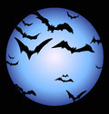 Bats and a full Halloween Moon Stock Photography