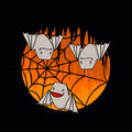 Bats and spider web illustration for halloween Stock Images