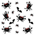 Bats and spiders Halloween Royalty Free Stock Images