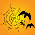 Bats and web spiders with three around it Stock Photos