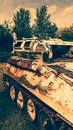 Battered old tank rusted damaged battle Stock Photo