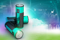 Batteries in attractive color background Royalty Free Stock Photography